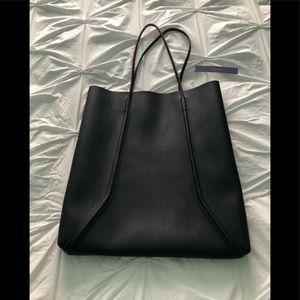 Bloomingdales Black Leather Shopper Bag